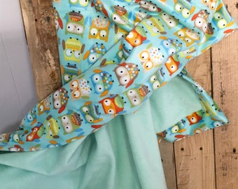 Minky baby blanket adorable owls.