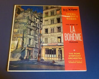 La Boheme Puccini Opera Without Words The Rome Symphony Orchestra  Vinyl Record LP KCP-9009 KAPP Records