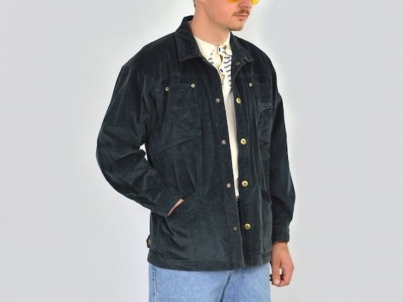 jacket hipster navy blue up REEBOK 90's mens coat Vintage S Corduroy button wEqR55Cpn