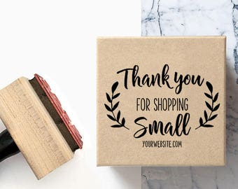 Custom Thank you for Shopping Small - Pre-Designed Rubber Stamp - Etsy Branding, Packaging, Party, Stickers, Tags, Shipping Packaging - B001
