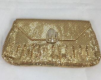 Vintage Whiting & Davis Co Gold Mesh Clutch with Rhinestone Clasp