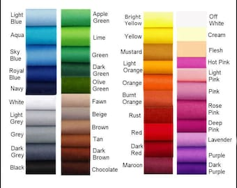 Felt Chemical Free - Choose your own colours  - 12 squares