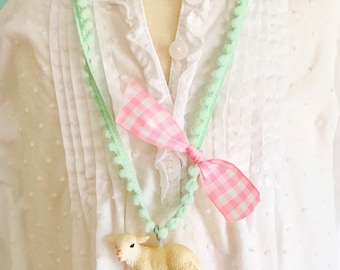 Lamb Necklace. Kids Necklace. Girls Necklace. Girls Lamb Necklace. Girls Jewelry. Mary Had a Little Lamb Necklace. Gingham Necklace.