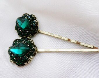 Green hair pins, Vintage hair pins, Emerald green hair pins, Bridal hair pins, Gold Bridal hair pins, Wedding hair pins, Bridal hair clip