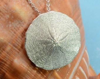 Sand Dollar Pendant, Sterling Silver | Silver Sanddollar Necklace Beach Jewelry Sanddollar Jewelry Beach Necklace Silver Beach Wedding Gift