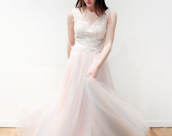 Romantic Mixed Pink and Blue Floral Lace V Neck Wedding Dress