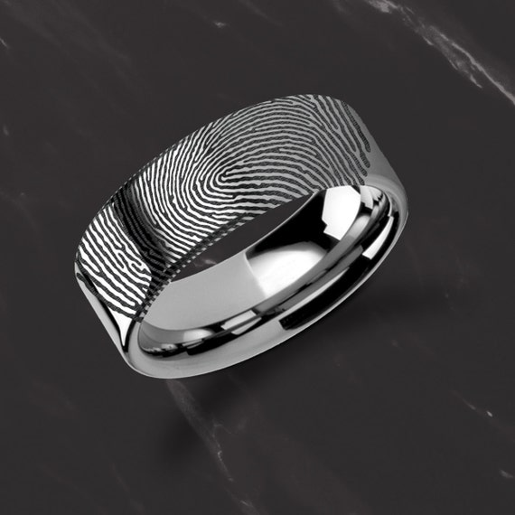 Actual Fingerprint Ring Tungsten Carbide Engraved Wedding Band Flat and Polished - 4mm to 12mm Available - Lifetime Size Exchanges