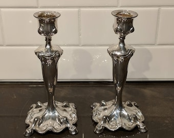 Barbour Silver Co Candle Holders 4 footed 1902 Art Nouveau Silver Plated