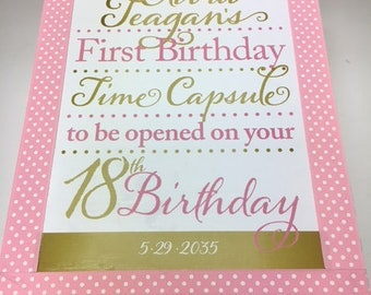 1st Birthday Time Capusule Keepsake box -Pink and Gold