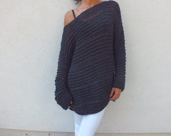 Charcoal gray sweater/Cozy sweater/chunky wool sweater/ handknit sweater/ Oversized Sweater/ Loose knit sweater