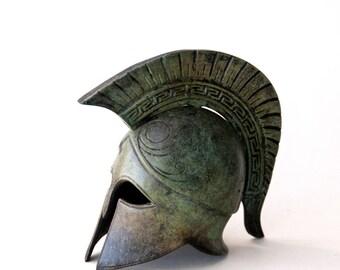 Bronze Helmet, Greek Key Crest Helmet, Ancient Corinthian War Helmet, Bronze Metal Sculpture, Collectible Timeless Art, Museum Quality Art