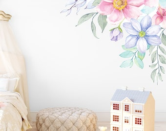 Spring Flowers Corner Wall Decal