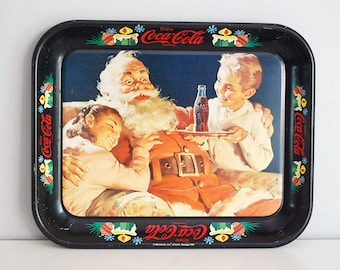 Santa Coca-Cola Tray, 1981 Advertising Tray, Christmas Serving Tray, Two Children Coke, Santa Claus Retro Ad, Metal Tray Tin