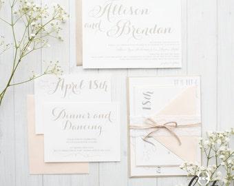 Lace and Blush Wedding Invitations