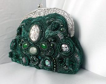 Formal purse Formal evening bag Green handbag Clutch purse Green wedding Emerald Kelly green clutch bag OOAK Beaded purse Green evening bag