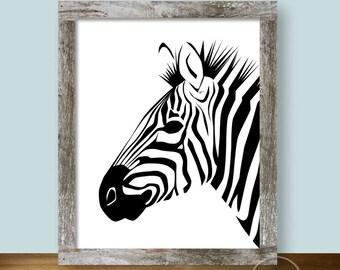 Zebra Stripes Printable Art 8x10 in Black and White