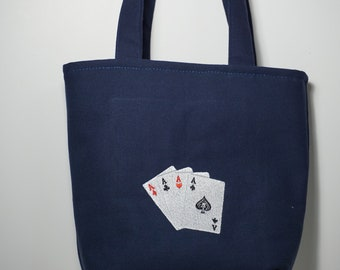 Playing cards  tote bag lined with straps