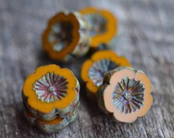 Pumpkin Orange Czech Glass Beads / Rustic 14mm Picasso Flower Bead / Pansy Jewelry Findings