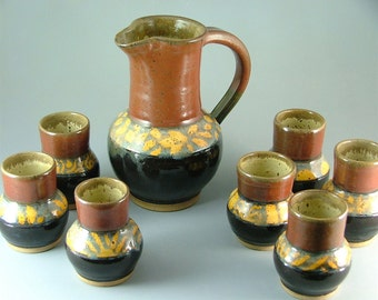 Pitcher and Cup Set, Red, Black, with Gold Patterns