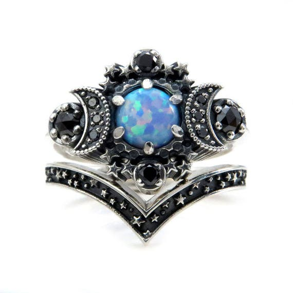 Cosmos Moon Engagement Ring Set - Lab Blue Grey Opal with Black Diamonds and Stardust Chevron Wedding Band