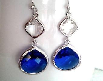 Cobalt Blue Summer Dangle Earrings, Wedding Earrings,Drop, Glass Earrings, bridesmaid gifts,Christmas Earrings,Mother's Day Gift