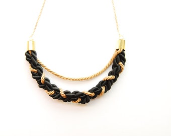 Braided Crescent - Braided Rope Necklace Gold and Black - Crescent Moon - Moon Necklace - Made to Order