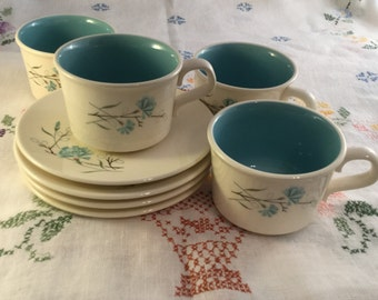 Free Shipping! 4 Taylor, Smith & Taylor Floral Cups and Saucers