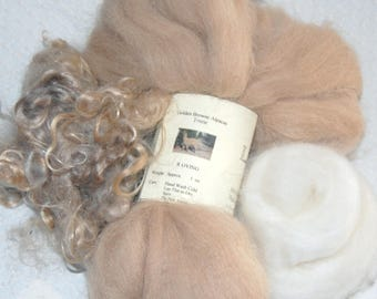 Alpaca, Cashmere, Kid Mohair Wool Locks, Locks for Spinning, Felting Fiber, in a Specially Priced Sampler Package 2 oz.
