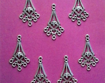 """Antique Silver Filigree Chandeliers - 1 1/2"""" x 7/8"""" - Sets of 7                                                             05/18"""