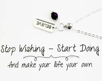 Believe Charm Necklace - Personalized Charm Necklaces - Believe in Yourself Necklace -Motivational Necklace  SCC882