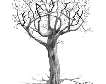 Faith Tree. Graphite pencil drawing. Landscape. Tree drawing. Inspirational. Religious. Acid free paper. Original.