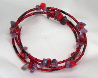 Red stone and Amethyst red wrap-around bracelet