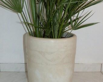Cache Pot ivory tadelakt H 41 cm