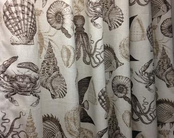 Fabric shower curtain Richloom Solarium Sealife Driftwood,