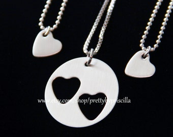 Mothers Day Gift-Mother Daughter Jewelry STERLING SILVER Heart Cut Out Necklace Set- Mother Daughter Necklaces-Gift for Her