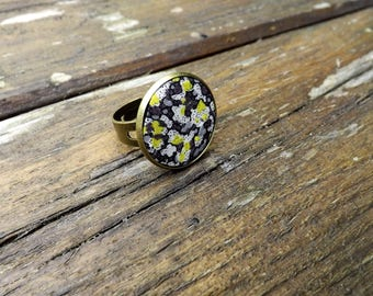 "liberty textile ring ""black and yellow tone"" brass"