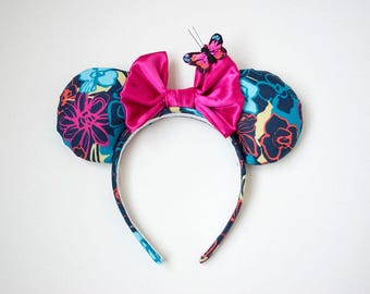 Floral, garden, pink butterfly minnie mouse ears