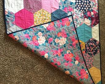 Modern Floral Hexagon Baby Quilt
