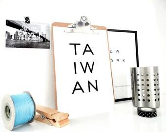 Taiwan Art Print, Taiwan Printable, Taiwan Printable Print, Taiwan Poster, Digital Print, Gift for Traveler, Minimal Poster, PDF Download