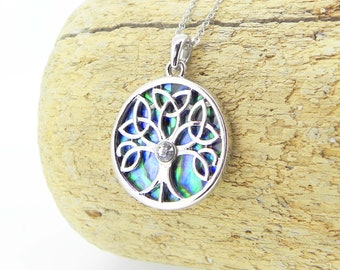 Celtic Tree of Life Necklace Abalone Necklace Abalone Pendant Gift for Her Hypoallergenic Jewellery Abalone Jewelry Paua Shell Necklace