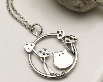 Fairytale Toadstool Cat Necklace - Sterling Silver Cat Jewellery - Handmade in the UK