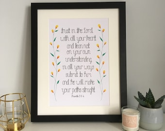 Trust In The Lord With All Your Heart Print - Proverbs 3:5 Print - Wall Art - Christian Art - Christian Gift - Baptism Gift - Home Decor