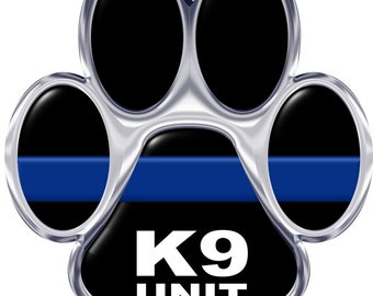 Silver K-9 Unit Thin Blue Line Paw 6 Inch Reflective Decal SKU: D1165-D6