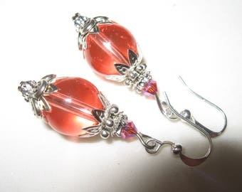 Earrings glass beads coral and Crystal Dangle Earrings