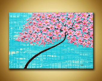 Large Floral tree Pink flowers Art Textured floral canvas Pink Turquoise Art Cottage chic decor Pink Wall art 3d cherry Blossom painting