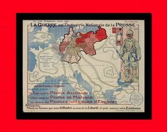 Old Map of Laguerre est Lindustrie Nationale de la Pressu Old map Art Reproduction Home Design Vintage Retro Map Reproduction Vintage Map