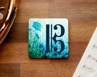 Floral Alto Clef Music Themed Coaster