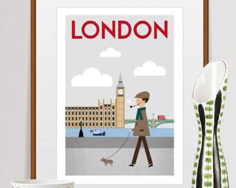 london print, london art, london poster, london, london wall art, london skyline, london decor, london gift, london art print, big ben print