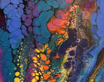 Multi Color Acrylic Painting, Abstract Painting on  Gallery Wrapped Canvas 16x20