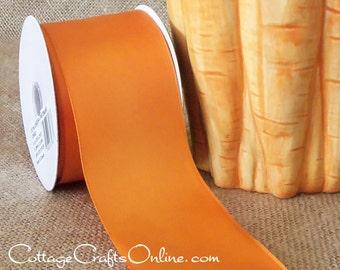 "Wired Ribbon,  2 1/2"" wide, Orange Tangelo Satin - THREE YARDS - Offray ""Contessa Orange"" #70207 Wedding, Spring, Fall  Wire Edged Ribbon"
